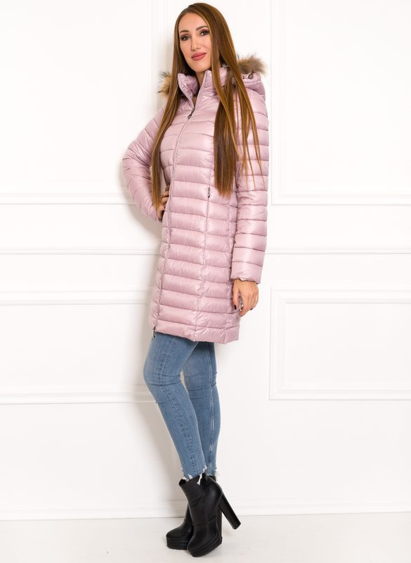 Women's winter jacket with real fox fur Due Linee - Pink