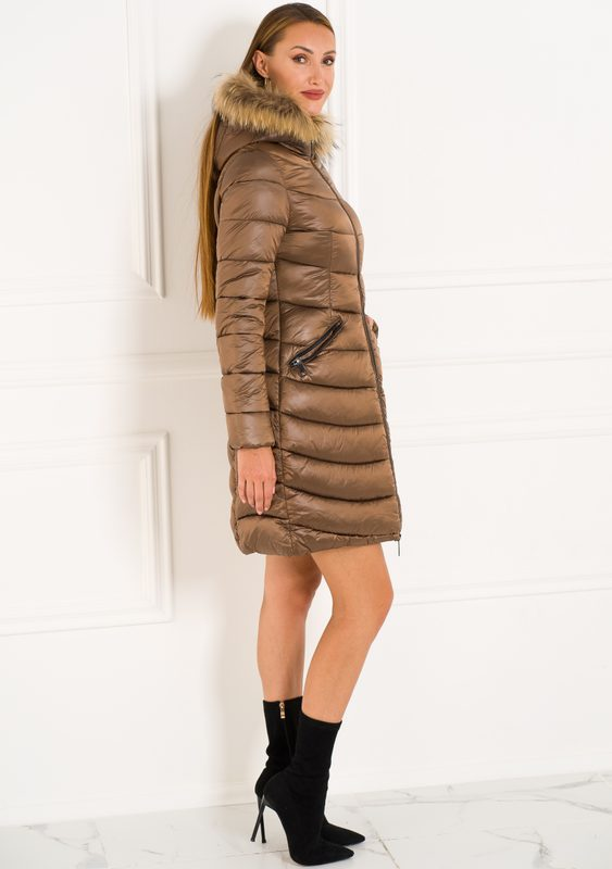 Winter jacket with real fox fur Due Linee - Brown