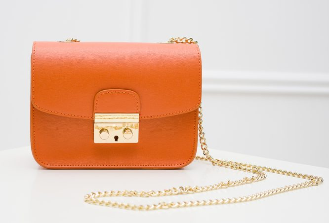 Real leather crossbody bag Glamorous by GLAM - Orange