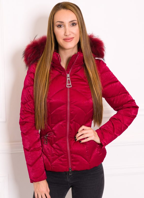 Women's winter jacket with real fox fur Due Linee - Wine