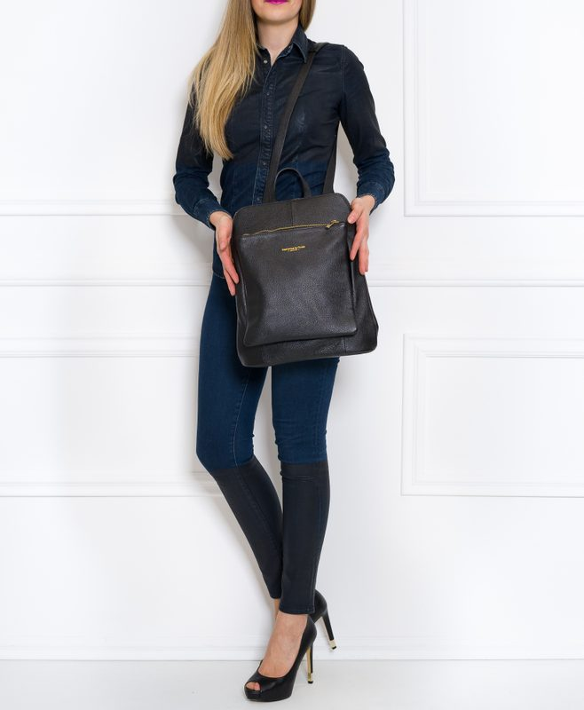 Women's real leather backpack Glamorous by GLAM - Black