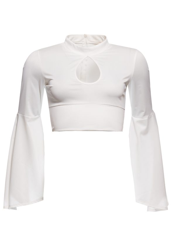 Crop-top Due Linee - White
