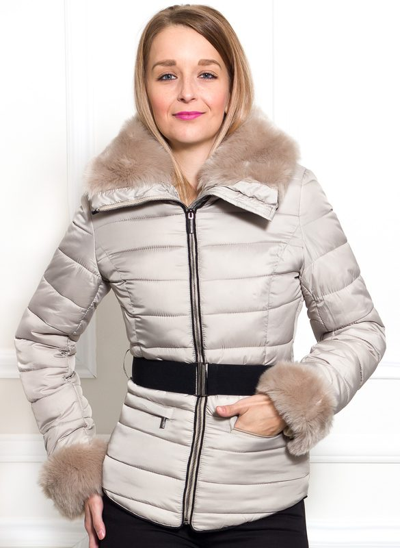 Women's winter jacket Due Linee - Beige