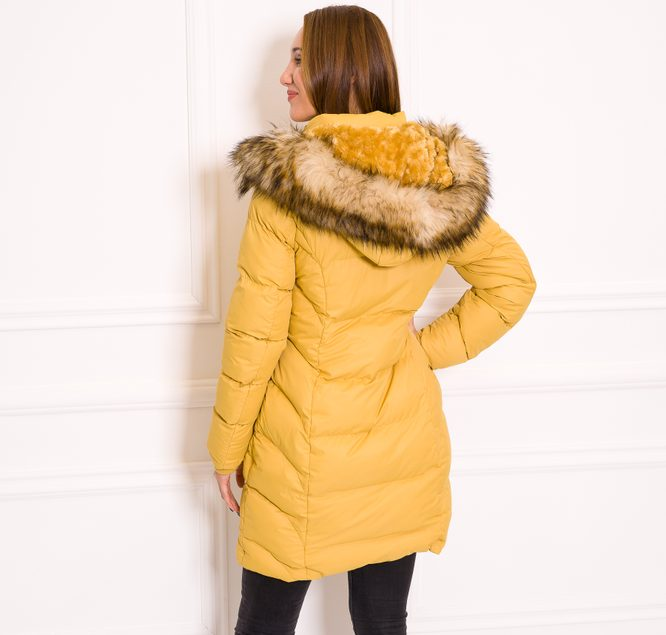 Women's winter jacket Due Linee - Yellow