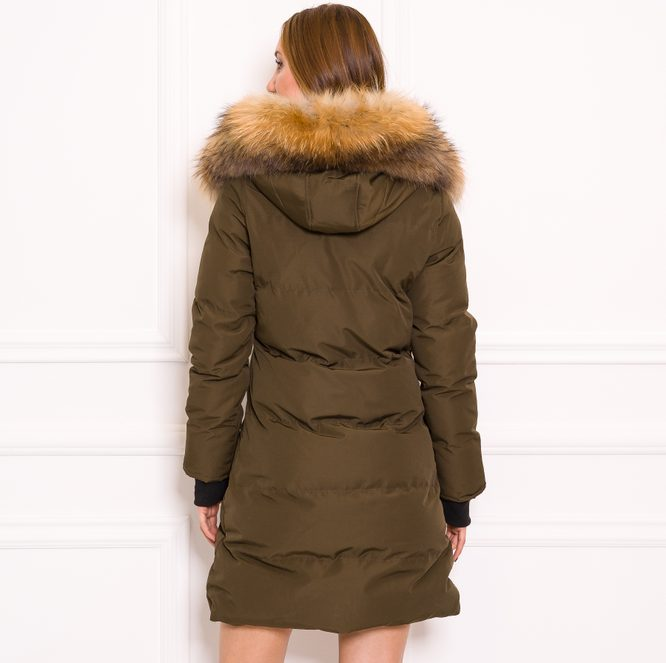 Women's winter jacket with real fox fur Due Linee - Green
