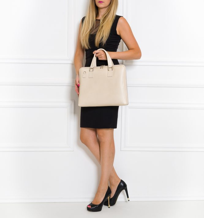 Real leather handbag Glamorous by GLAM - Creme