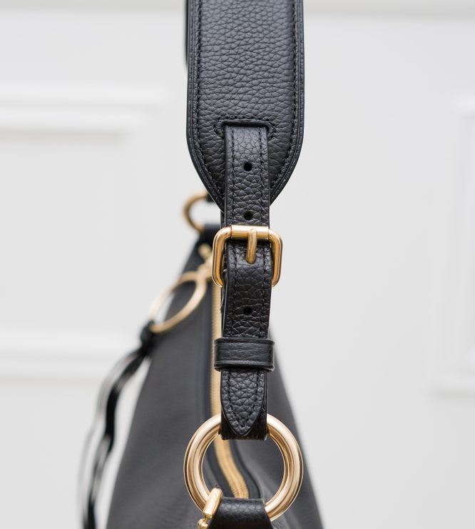 Real leather shoulder bag Coach - Black