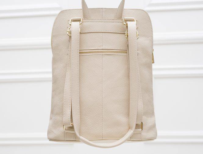 Women's real leather backpack Glamorous by GLAM - Beige