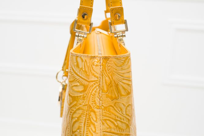 Real leather handbag Glamorous by GLAM - Yellow
