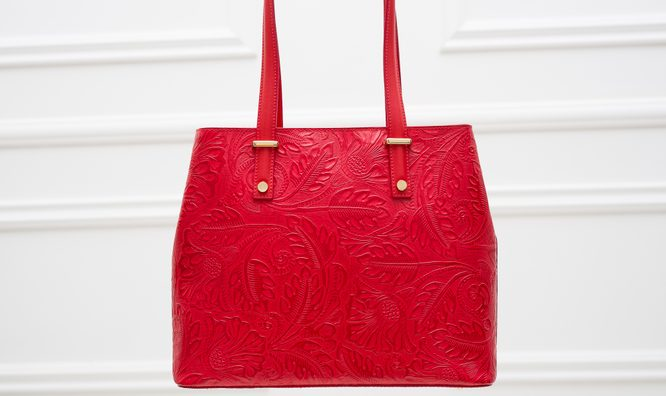 Real leather shoulder bag Glamorous by GLAM - Red