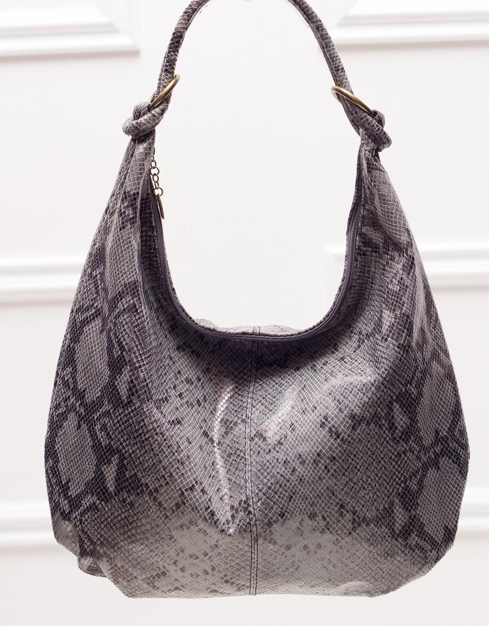 8ee0045f6a Glamadise.sk - Kožená kabelka s hadím vzorom a krúžky - sivá ...