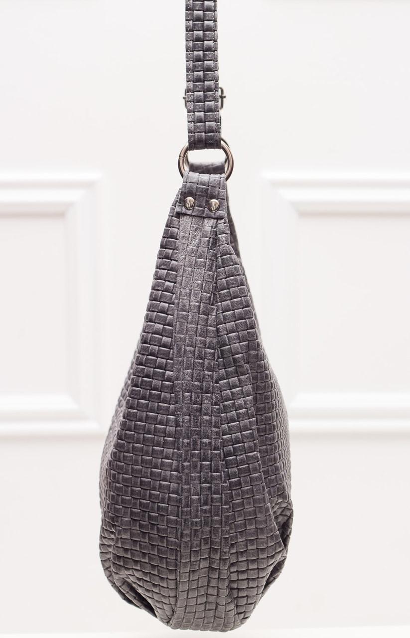 acb7ff0fa1 Glamadise.sk - Kožená kabelka s predlžovacím ucho pletená - tmavo ...