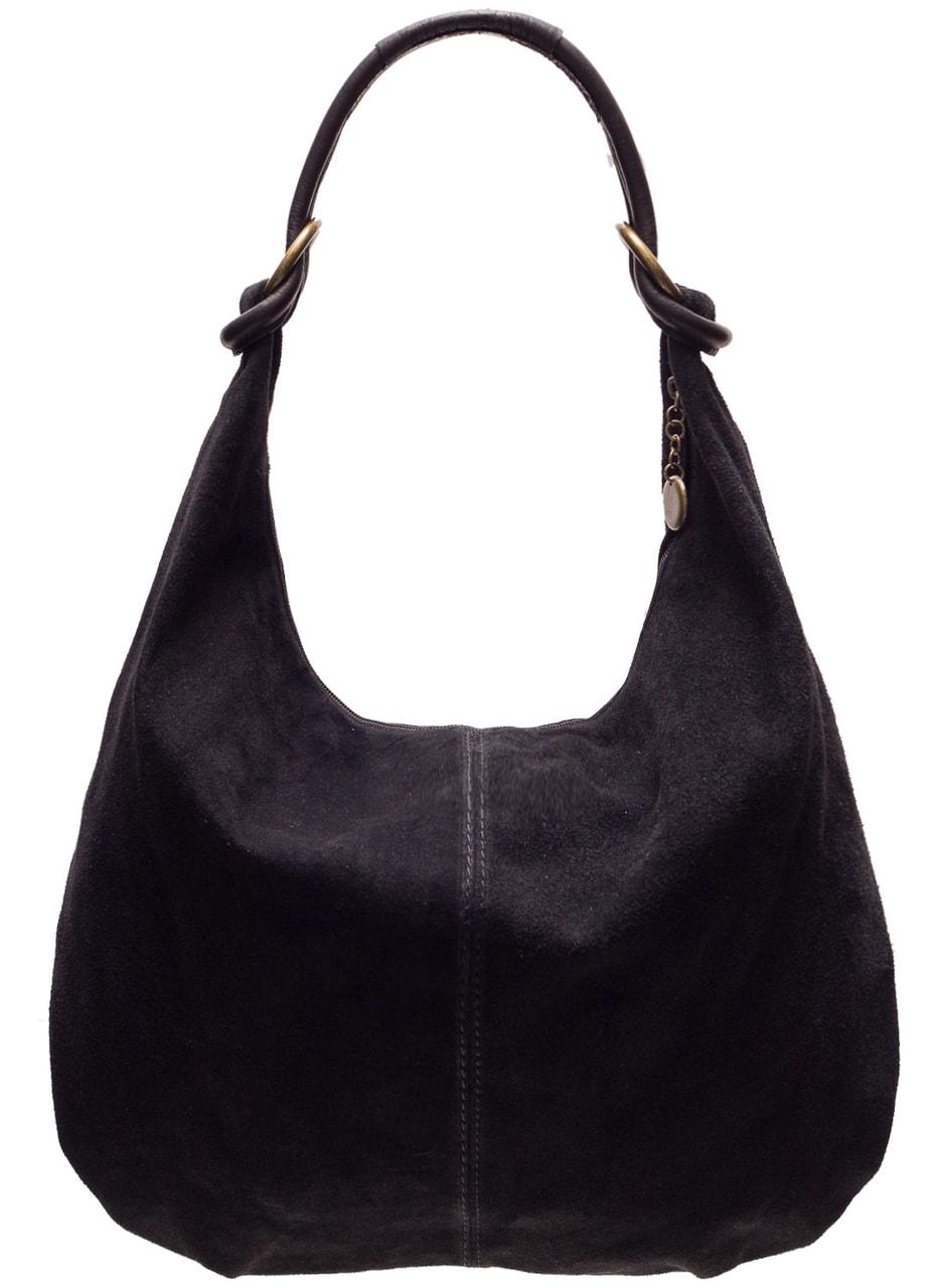 f3b3b4a54c Glamadise.sk - Kožená kabelka cez plece semišová - čierna ...