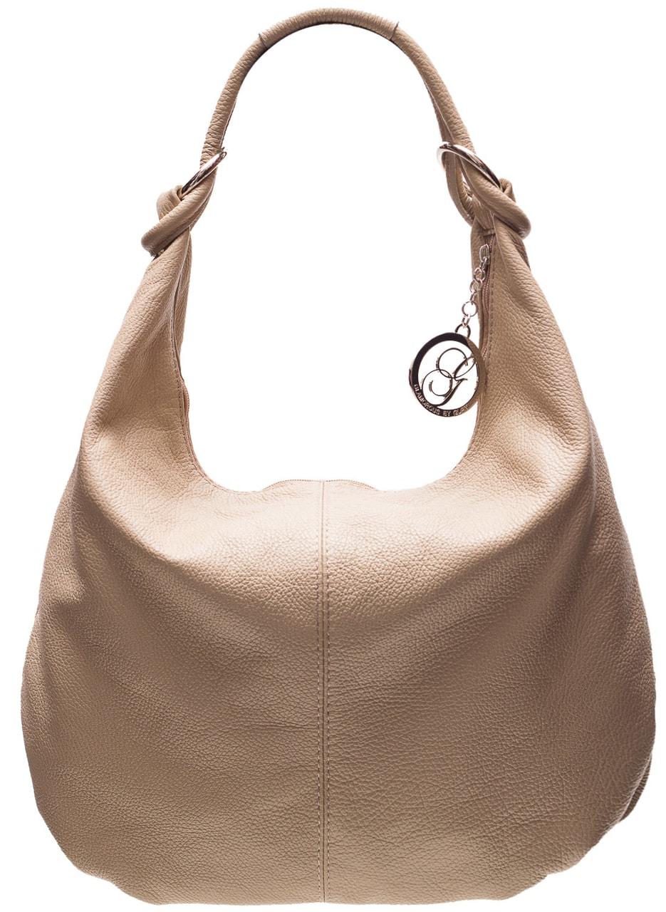 1f8436c22c Glamadise.sk - Kožená kabelka cez rameno s kruzky - béžová ...