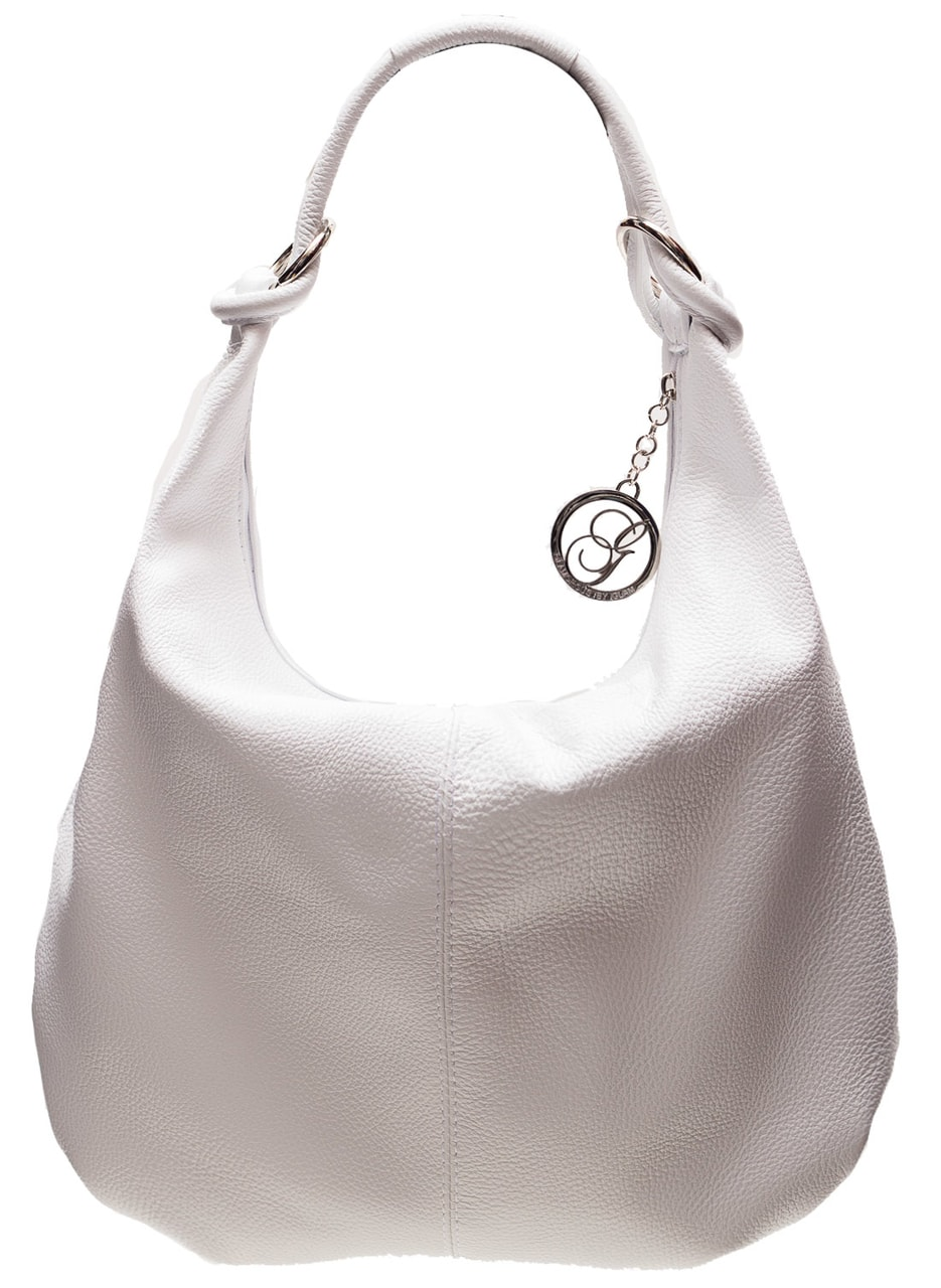 9c404bc40e Glamadise.sk - Kožená kabelka cez rameno s kruzky - biela ...