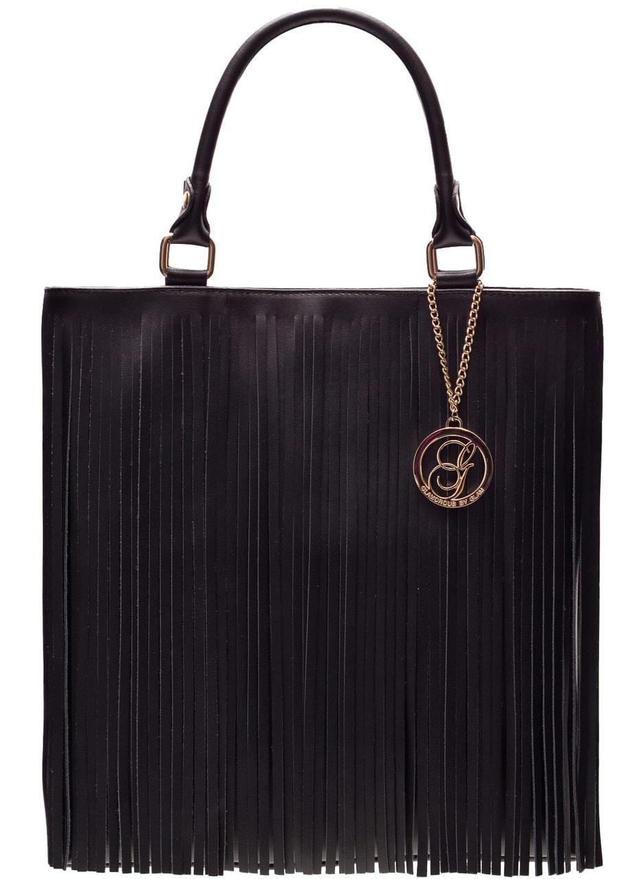 9def404274 Glamadise.sk - Dámska kožená kabelka so strapcami čierna - Glamorous ...