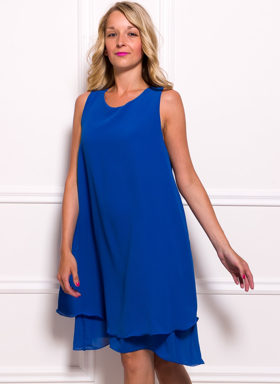 129b110db3f1 Dámské šifonové delší šaty volný střih - modrá - Glamorous by Glam ...