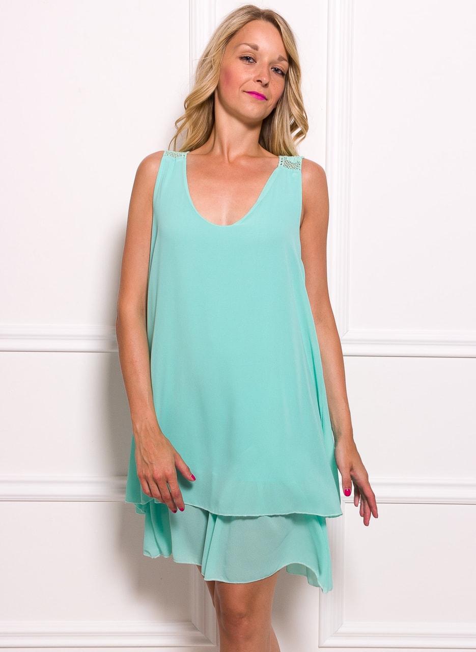 12769345806e Dámské šifonové šaty volné s krajkou - zelená - Glamorous by Glam ...