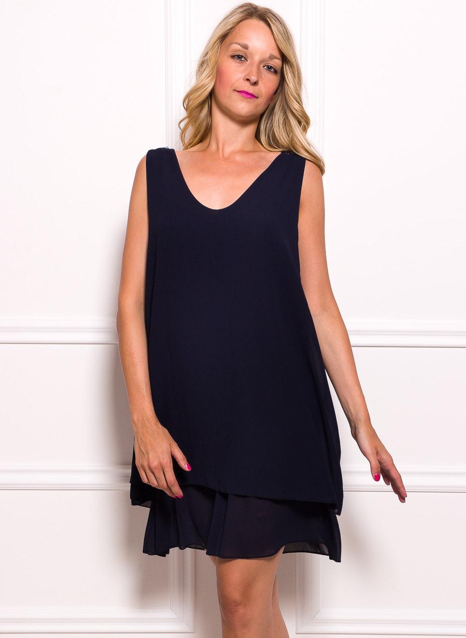 791cbaa14925 Glamadise.sk - Dámske šifónové šaty voľné s čipkou - tmavo modrá ...