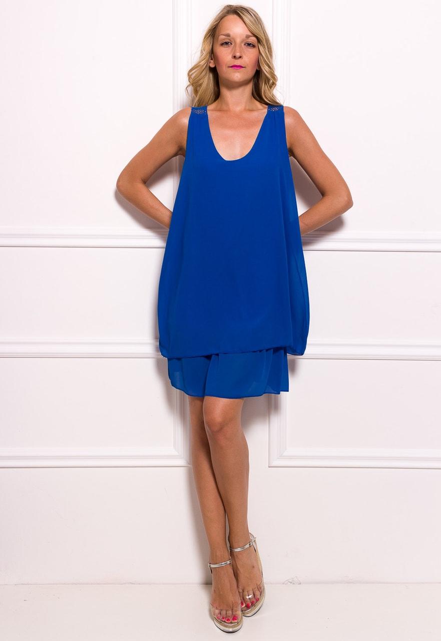 acf6f94eef2c Glamadise.sk - Dámske šifónové šaty voľné s čipkou - kráľovsky modrá ...