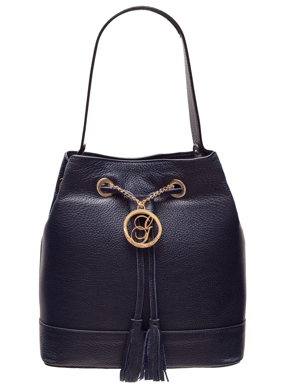 f24b09ffe1 Dámská kožená kabelka do ruky vak - tmavě modrá - Glamorous by GLAM ...