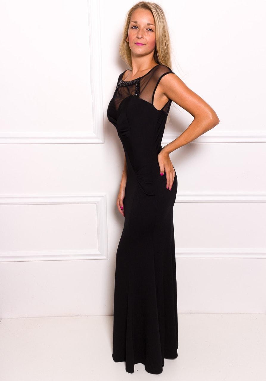 2d4fbe810eeb Glamadise.sk - Spoločenské dlhé šaty s priesvitnými chrbtom - čierna ...