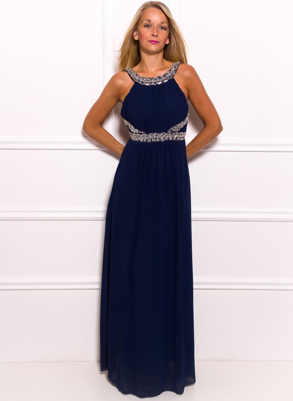 81ce961fedf4 Společenské dlouhé šaty se stříbrným zdobením - tmavě modrá - Due ...