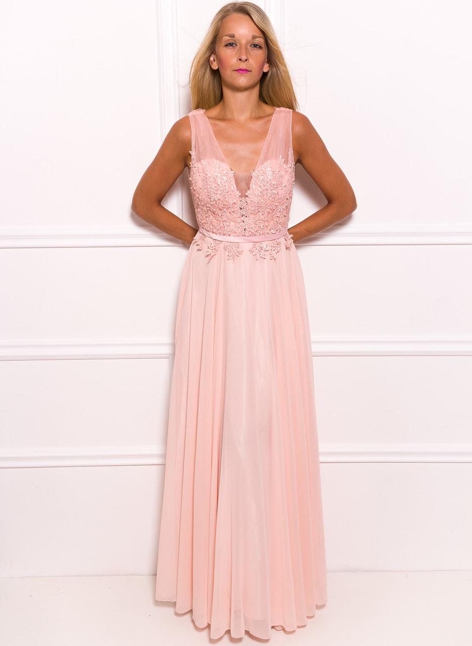 4f0e3bfa93ec Glamadise.sk - Spoločenské dlhé šaty s čipkou a korálky - svetlo ...
