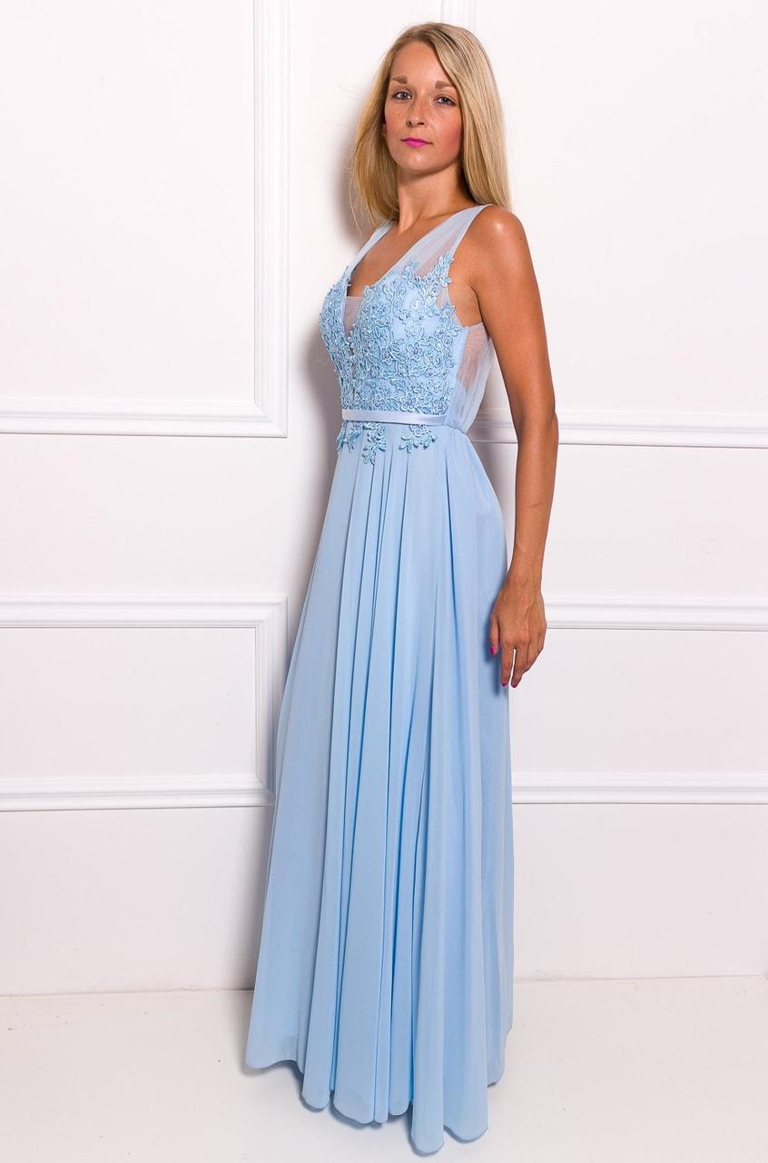 734849f0ef56 Glamadise.sk - Spoločenské dlhé šaty s čipkou a korálky - svetlo ...