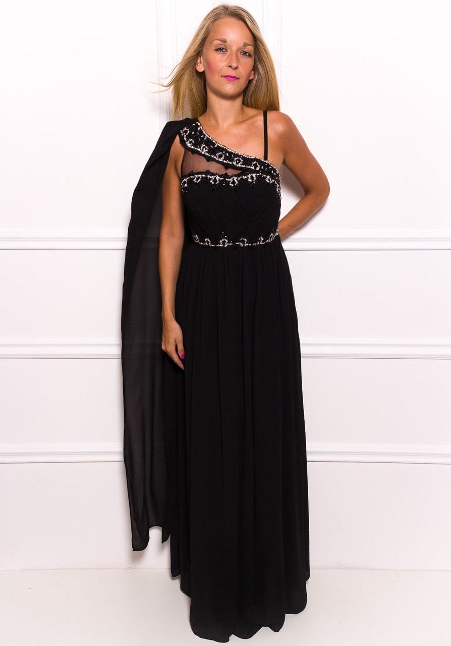 02b9cb0ca2c4 Glamadise.sk - Spoločenské dlhé šaty na jedno rameno s čiernym ...