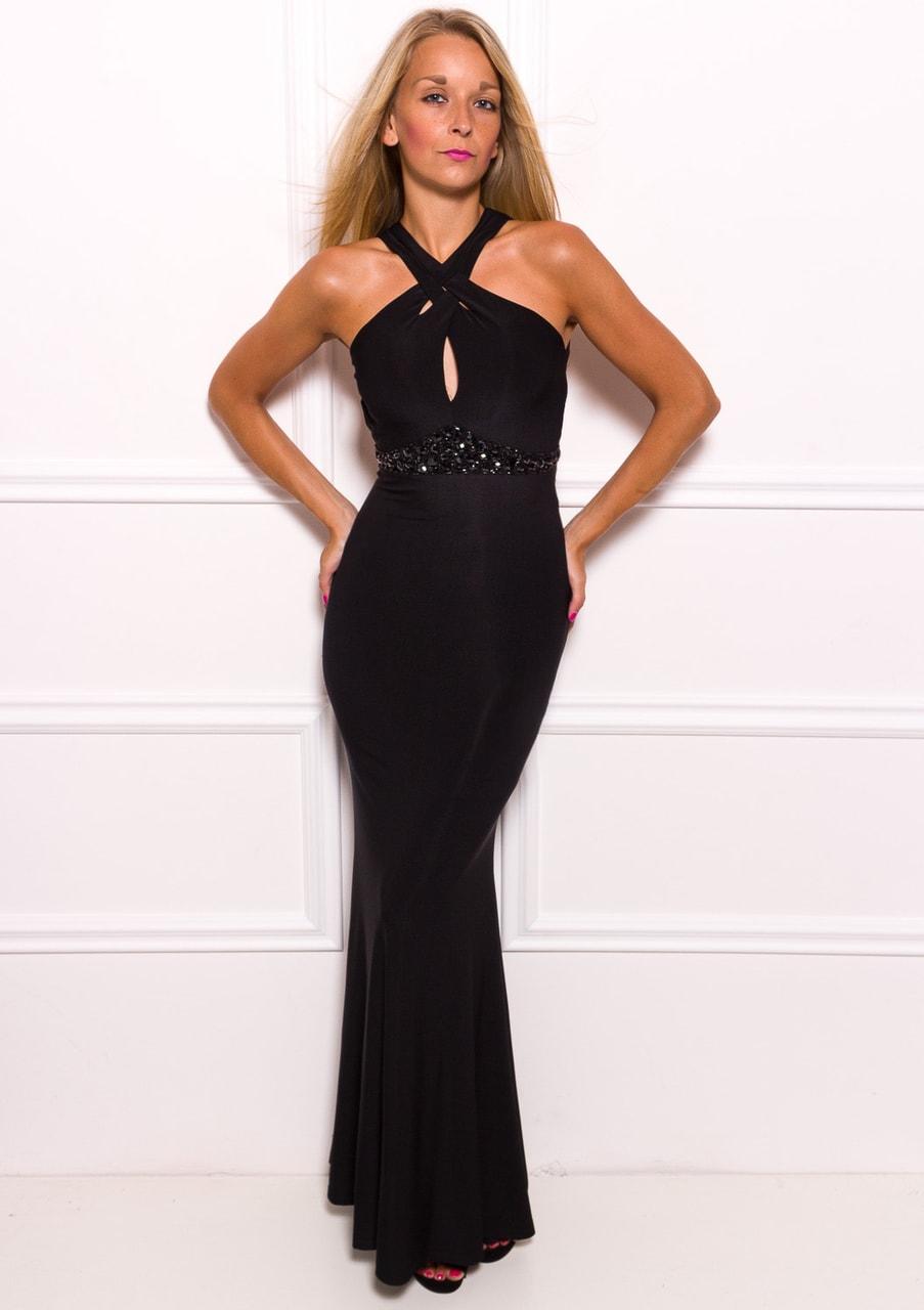 418ef1abd40e Glamadise.sk - Spoločenské dlhé šaty jednoduché sa zdobením - čierna ...