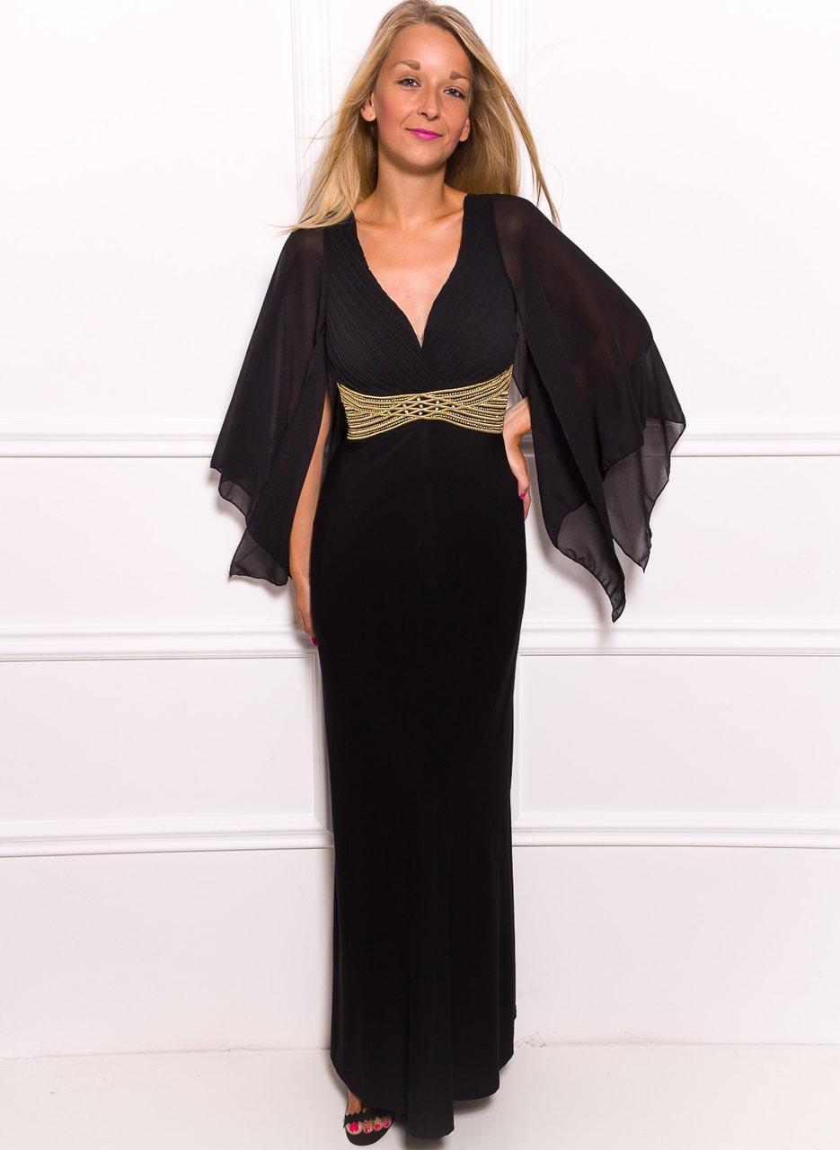 18f187477a33 Glamadise.sk - Spoločenské dlhé šaty s šifónovými rukáv - čierna ...
