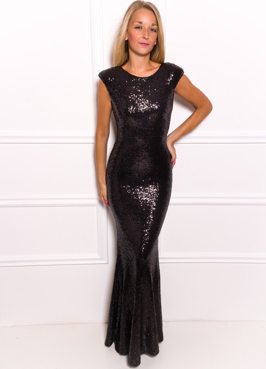 183c5e502310 Glamadise.sk - Spoločenské Luxusné dlhé šaty s flitrami - čierna ...
