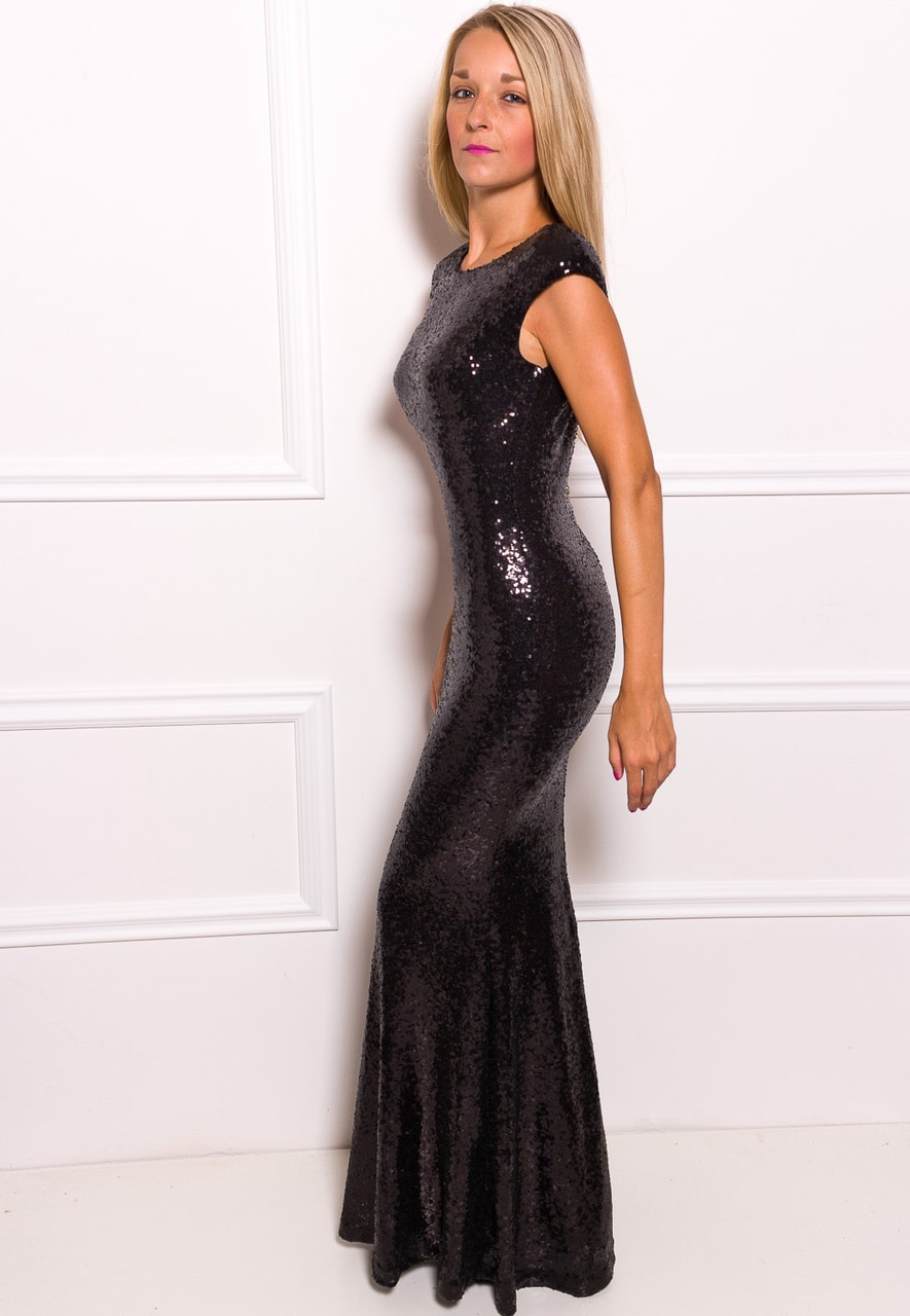 6ef344232c4e Glamadise.sk - Spoločenské Luxusné dlhé šaty s flitrami - čierna ...