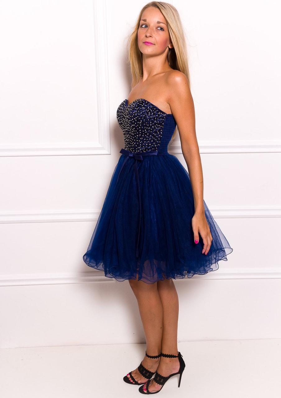 664b596bdc6c Dámské krátké plesové šaty bez ramínek - tmavě modrá - Due Linee ...