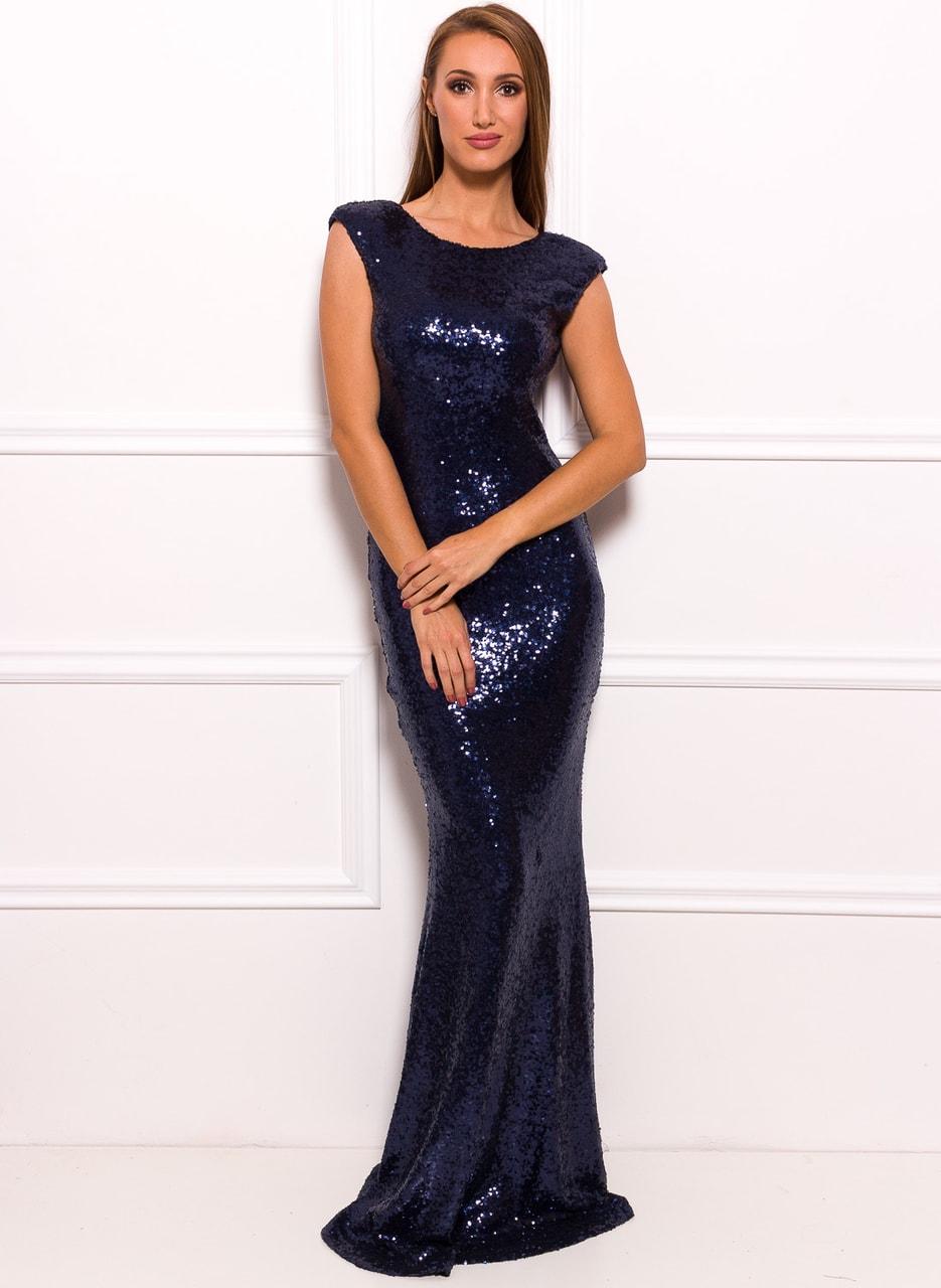 d0c53c2cfc63 Glamadise.sk - Spoločenské luxusné dlhé šaty s flitrami - tmavo ...