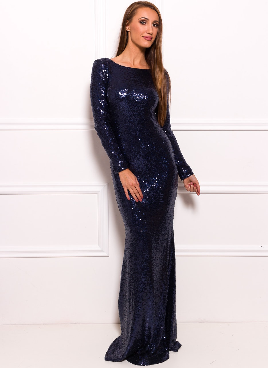 73b428916a0a Glamadise.sk - Spoločenské luxusné dlhé šaty s flitrami a rukávmi ...