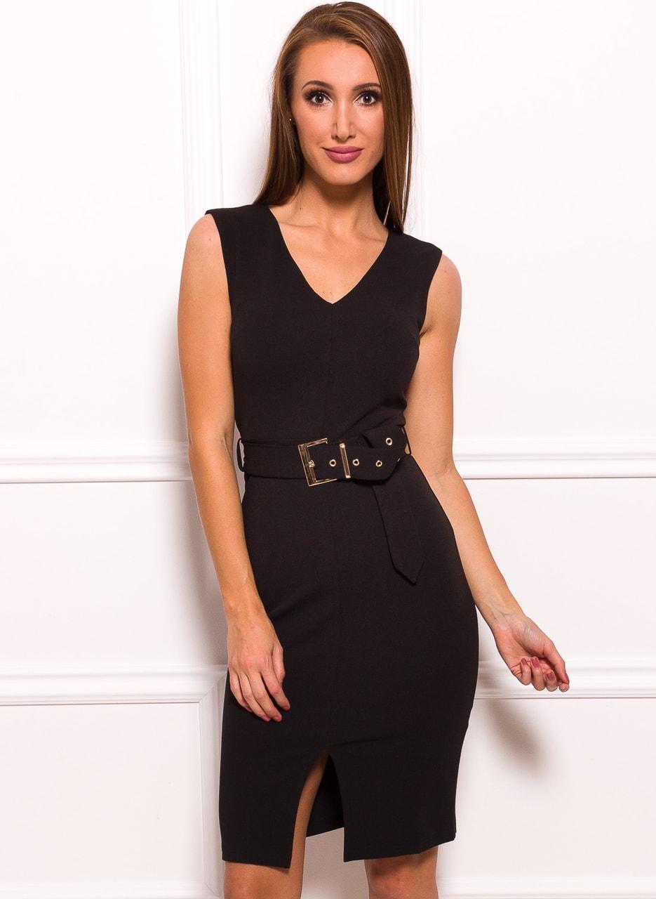 f66989fa8ae3 Dámské elegantní šaty černé s páskem a zlatou sponou - Due Linee ...