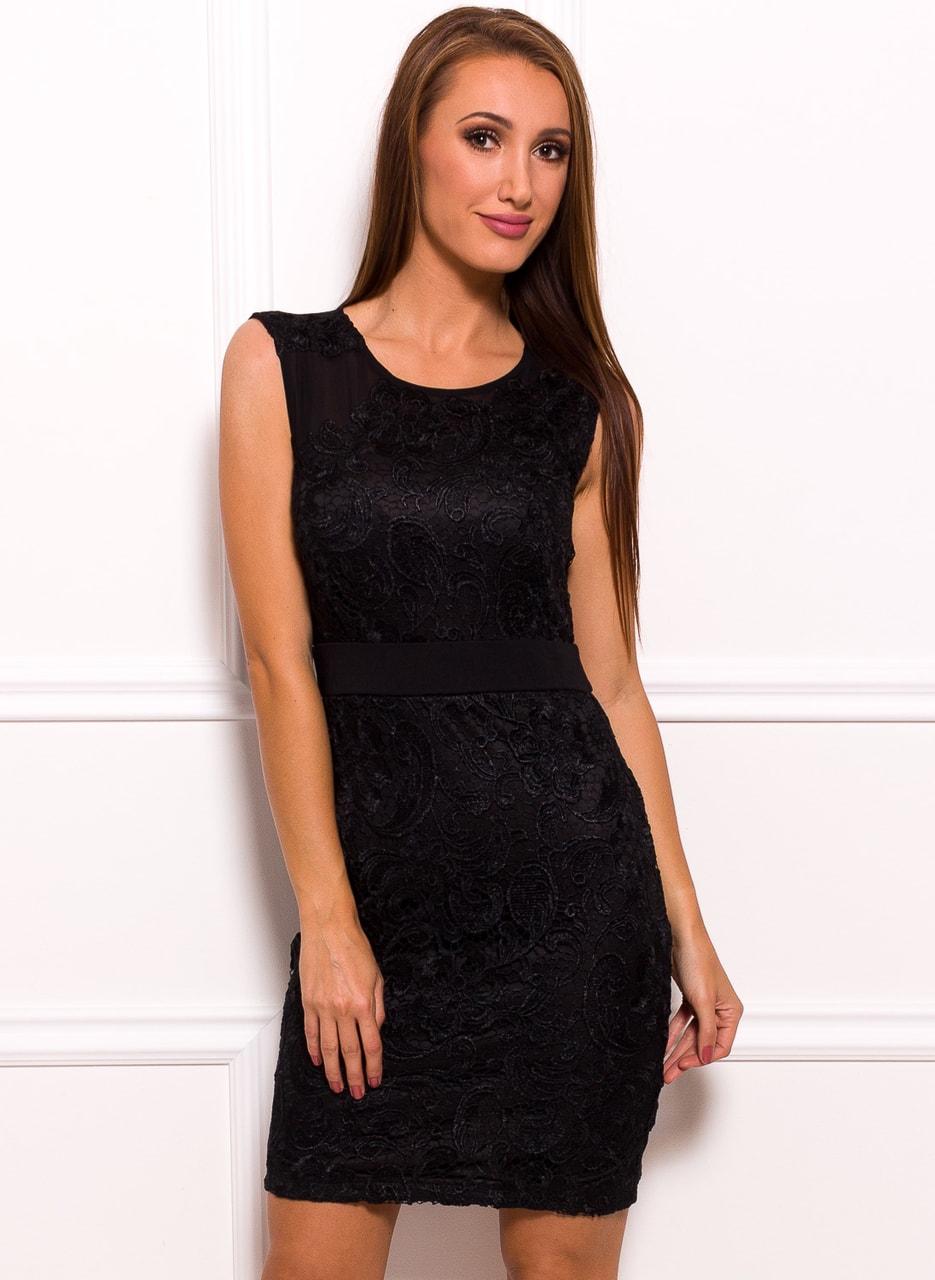 36aabf77ab2d Dámské černé šaty s krajkou - uplý střih - Due Linee - Poslední kusy ...