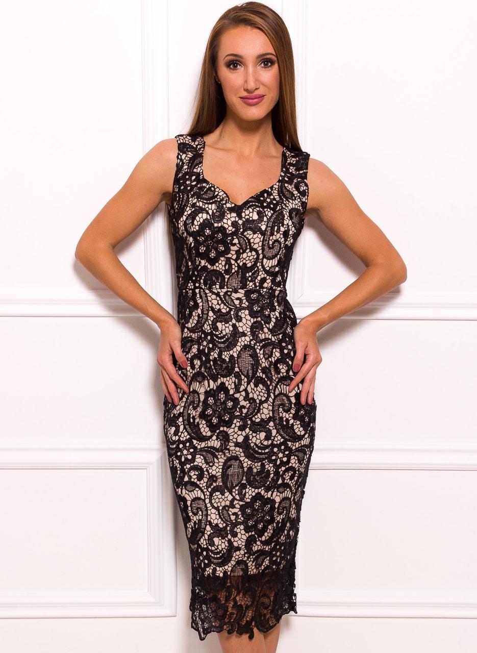 a002d04d51 Glamadise.sk - Dámske luxusné čipkované midi šaty - béžová - Due ...