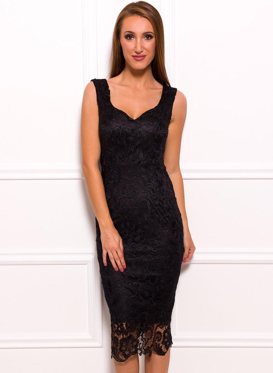 a7c445d795 Dámské luxusní krajkové midi šaty - černá - Due Linee - Poslední ...