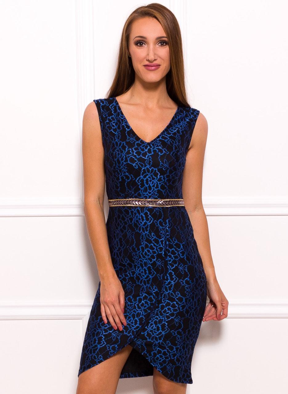 84268b0acaf1 Glamadise.sk - Dámske krajkové šaty so zdobeným opaskom - modrá ...