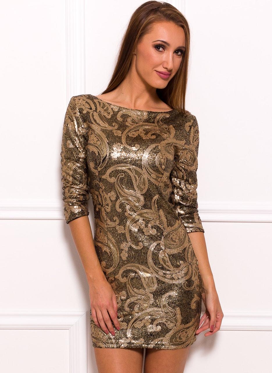 7724dc2af4f0 Glamadise.sk - Dámska šaty s flitrami - zlatá - Due Linee - Party ...