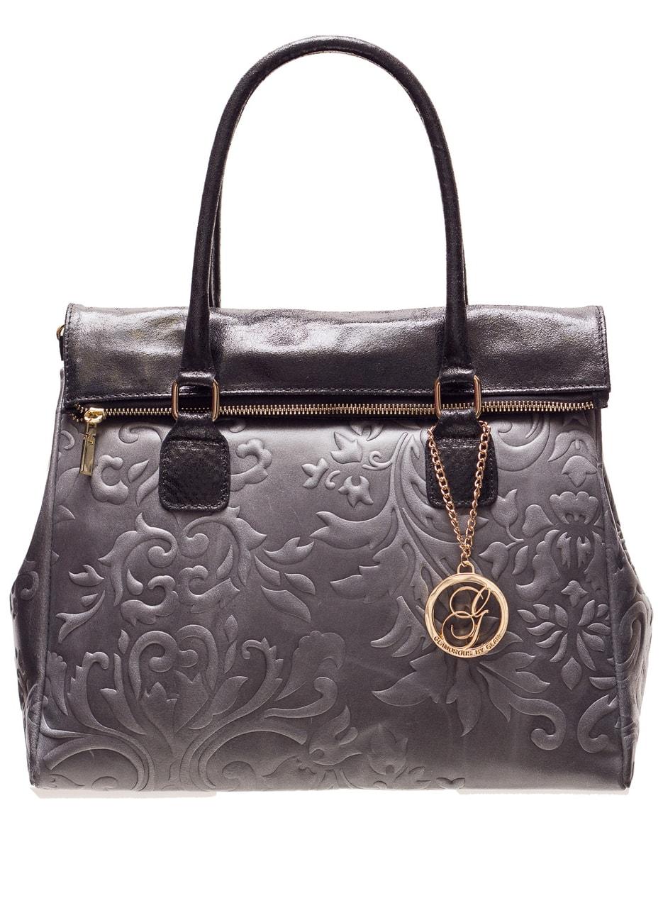 229016257f Glamadise.sk - Dámska kožená kabelka kombináciám čiernej a sadajte ...