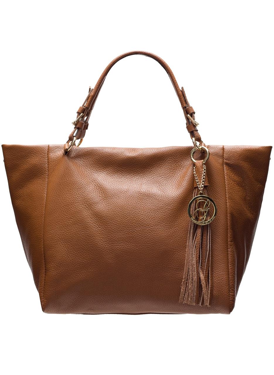 46d1332585 Glamadise.sk - Dámska kožená kabelka svetlo hnedá COYOTE s strapcový ...