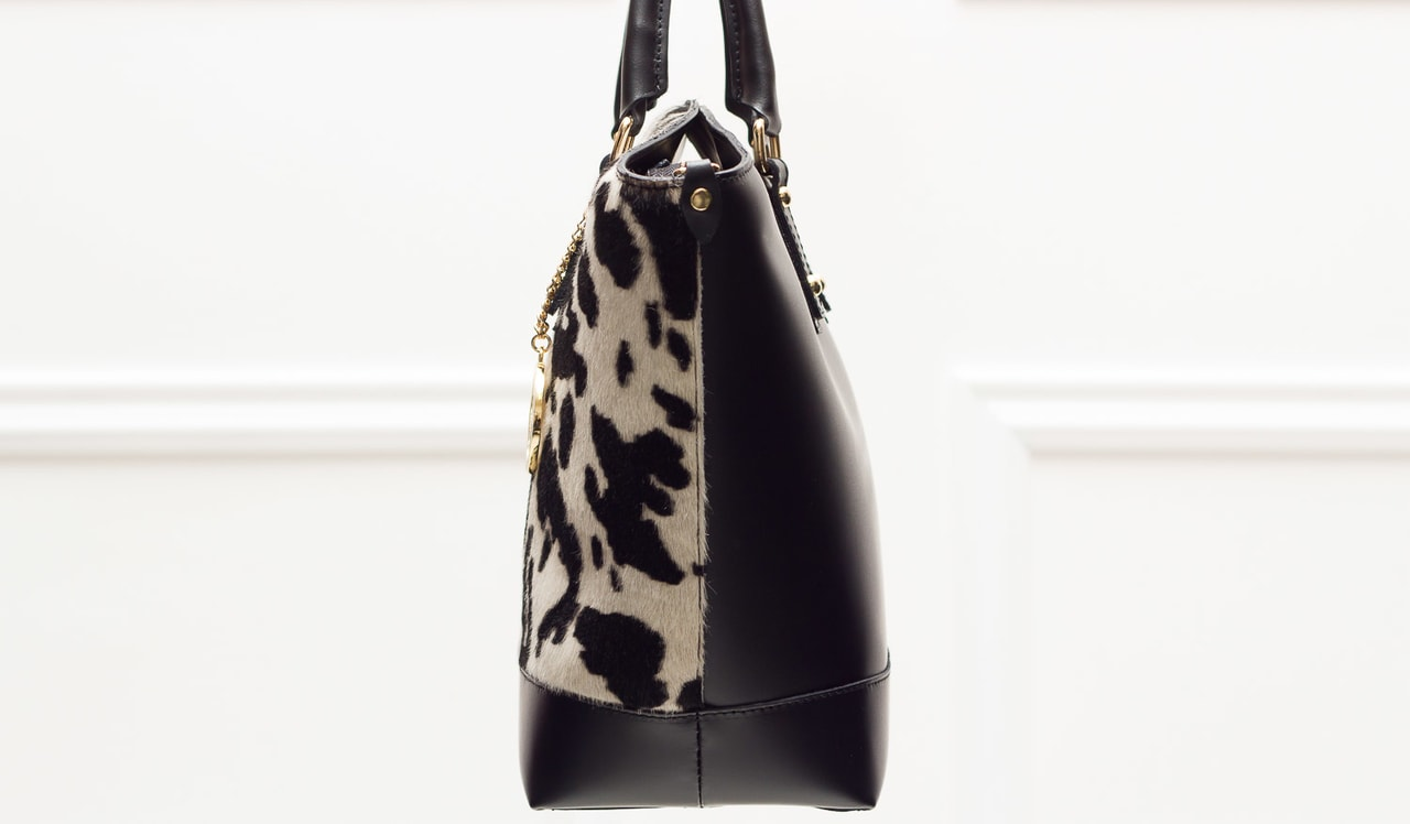 e059ec2e06100 Glamadise.sk - Dámska luxusná kožená kabelka väčší so srsťou čierno ...