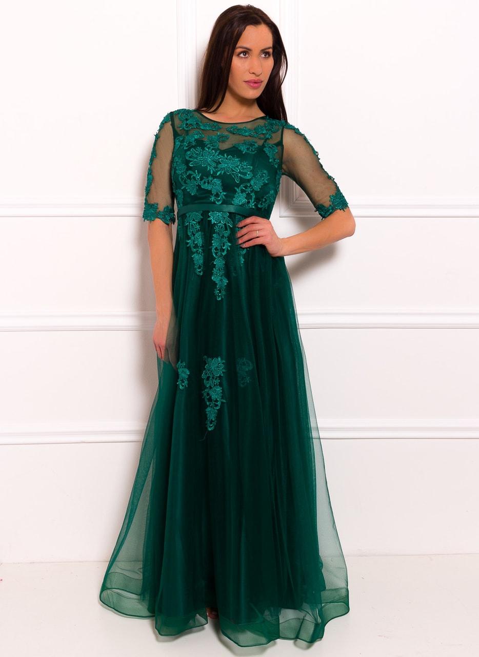 6df865d19822 Glamadise.sk - Spoločenské luxusné dlhé šaty s rukávom - zelená ...