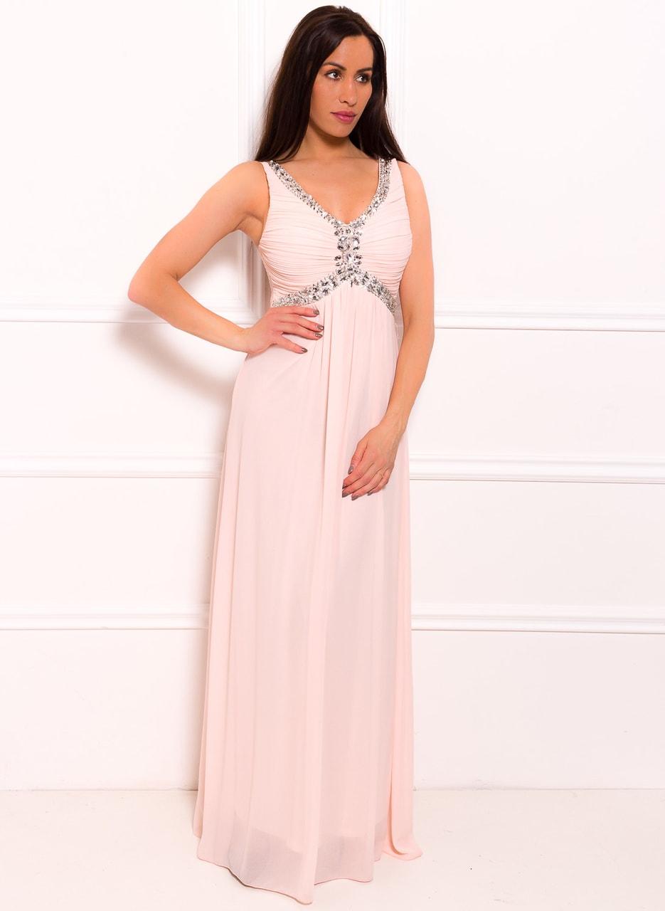 c7a707544376 Glamadise.sk - Spoločenské dlhé šaty zdobené v dekolte - svetlo ...