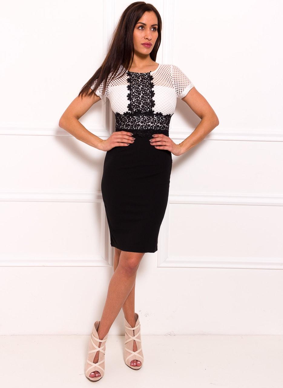 71c30bbc606d Dámské elegantní šaty s rukávkem a krajkou černo - bílá - Due Linee ...