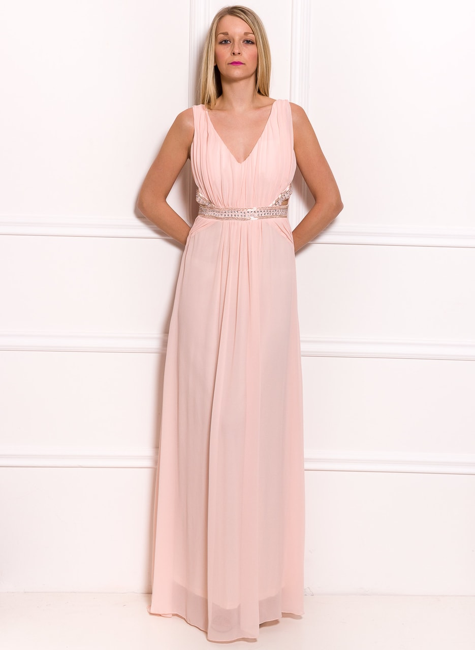 a6189b65f0 Glamadise.pl - Damska długa sukienka Due Linee - różowy - Due Linee ...